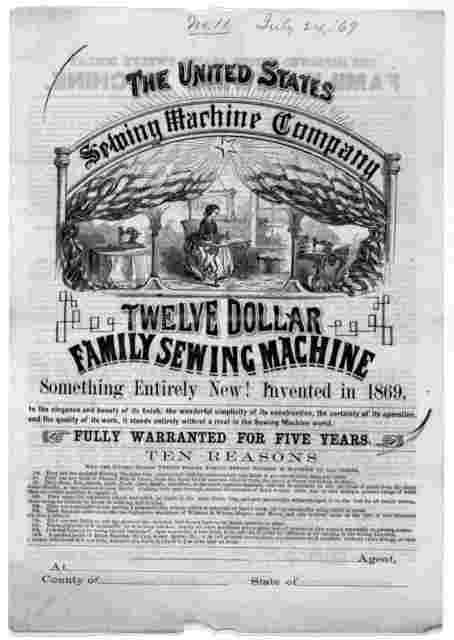 [Circular letter and circular describing the United States family sewing machine] [Biddeford, Maine. 1869].