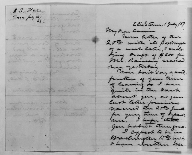 Clara Barton Papers: Family Papers: Hale, Robert S. (cousin), 1869-1881