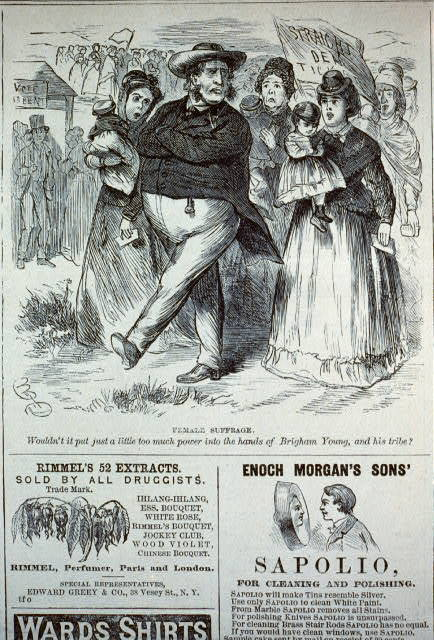 Female suffrage - wouldn't it put too much power into the hands of Brigham Young, and his tribe? [cartoon showing Brigham Young leading parade of women carrying babies]