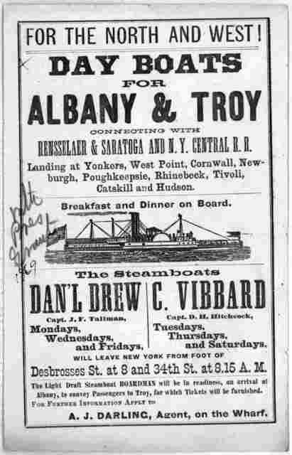 For the North and West! Day boats for Albany & Troy connecting with Rensselaer & Saratoga and N. Y. Central R. R. ... A. J. Darling, agent on the wharf. [1869].