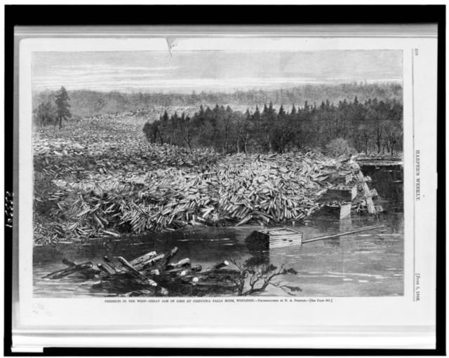 Freshets in the West--great jam of logs at Chippewa Falls boom, Wisconsin / Photographed by N.A. Preston.