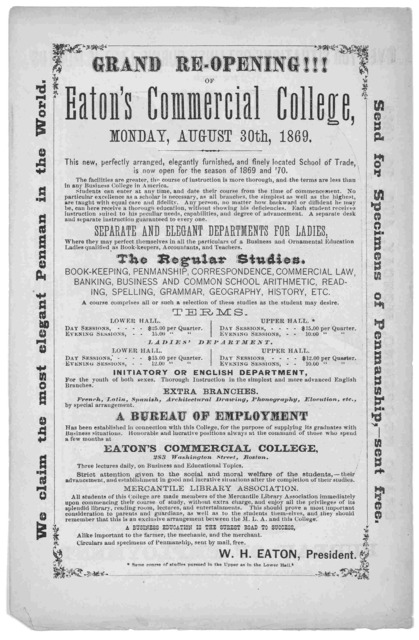Grand re-opening!!! of Eaton's Commercial College, Monday, August 30th 1869 ... Boston 1869.