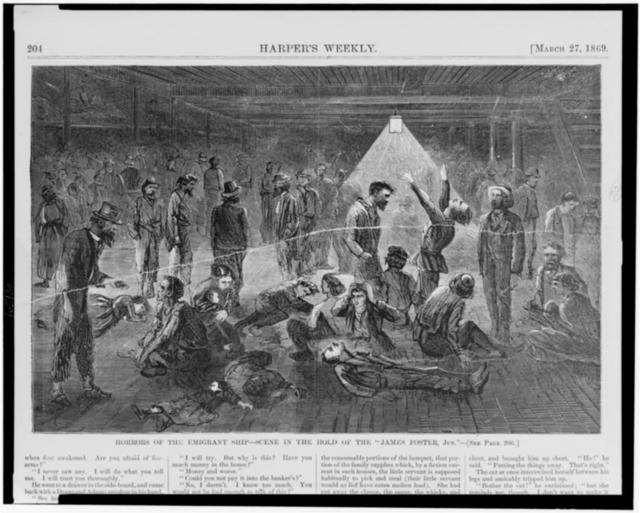"""Horrors of the emigrant ship--scene in the hold of the """"James Foster, Jun."""""""