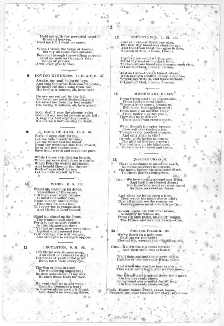 Hymns for daily prayer meetings, 1869. At English Lutheran church, corner 11 and H streets,from 12 M. to 1 P. M. At Young men's Christian association rooms, 318 Pennsylvania Avenue, from 6 to 6.45 P. M. [Washington, D. C. 1869].