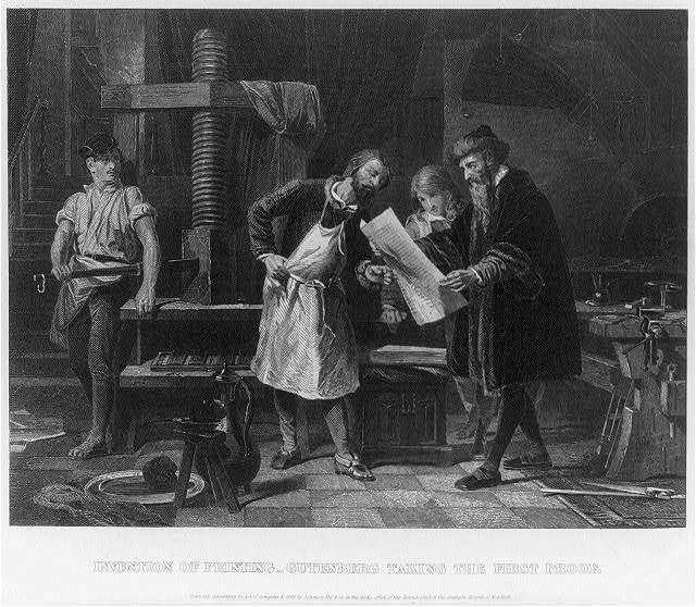 Invention of printing - Gutenberg taking the first proof