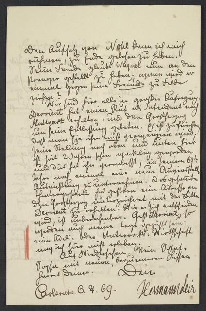 [Letter, 1869 April] 6, Carlsruhe [to Brahms]