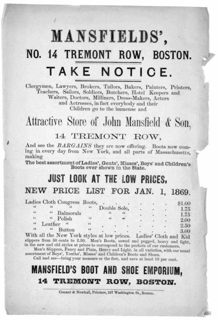 Mansfields' No. 14 Tremont Row, Boston. Take notice .... attractive store of John Mansfield & son ... Boston Conant & Newhall, Printers, 247 Washington St. [1869].