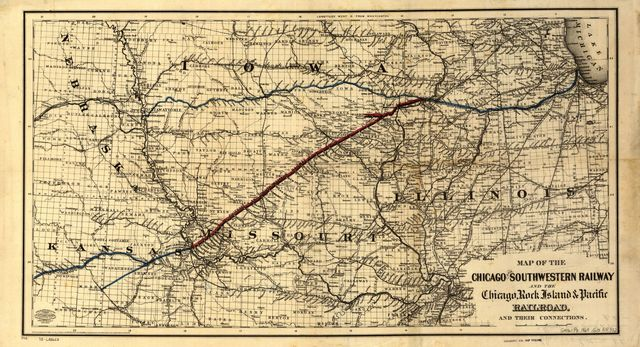 Map of the Chicago and Southwestern Railway and the Chicago, Rock Island & Pacific Railroad and their connections.