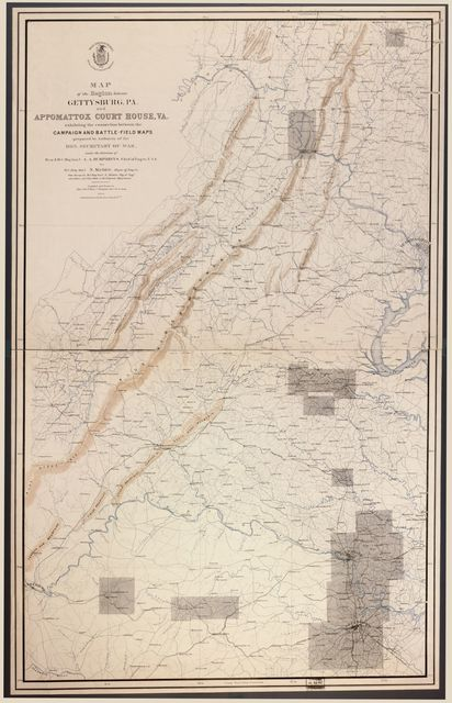 Map of the region between Gettysburg, Pa. and Appomattox Court House, Va. exhibiting the connection between the campaign and battle-field maps /