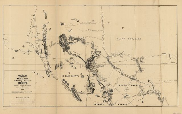 Map of the route of B'vt. Maj. A. Moore's scout, April 11th to June 12th 1869 /