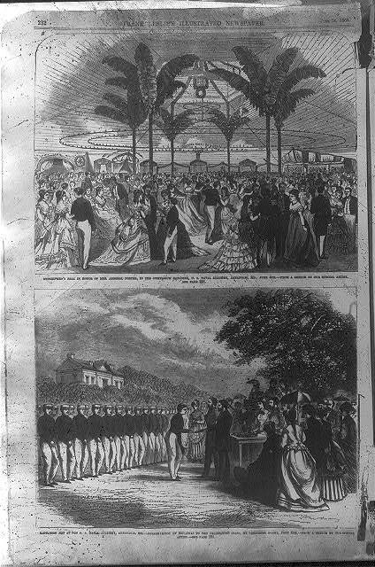 "[Md. - Annapolis - U.S. Naval Academy: 2 scenes - ""Midshipmen's Ball...June 4th"" ""...presentation of diplomas to the graduating class, by President Grant, June 4th""]"