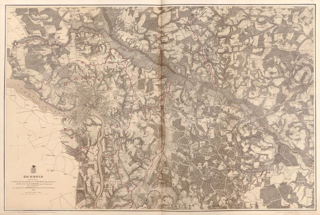 Military maps illustrating the operations of the armies of the Potomac & James, May 4th 1864 to April 9th 1865.