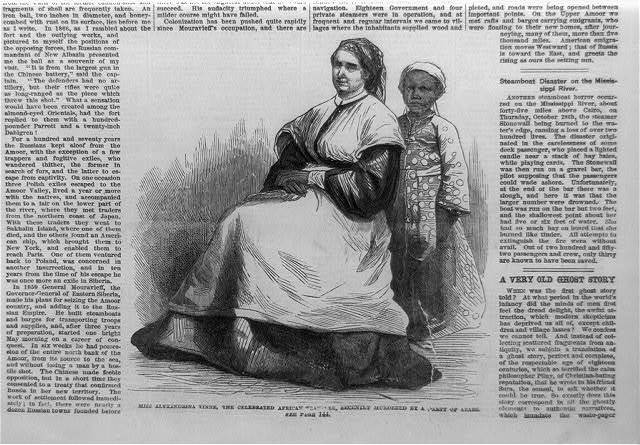 Miss Alexandria Tinne, the celebrated African traveler, recently murdered by a party of Arabs [Miss Tinne seated, full lgth., (3); Black girl standing behind her]