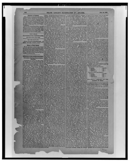 [Page of text from Frank Leslie's illustrated newspaper, including articles on the opening of the Pacific Railway]