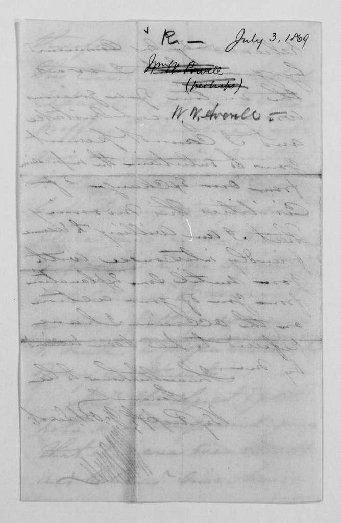 Philip Henry Sheridan Papers: General Correspondence, 1853-1888; 1869; Apr.-July