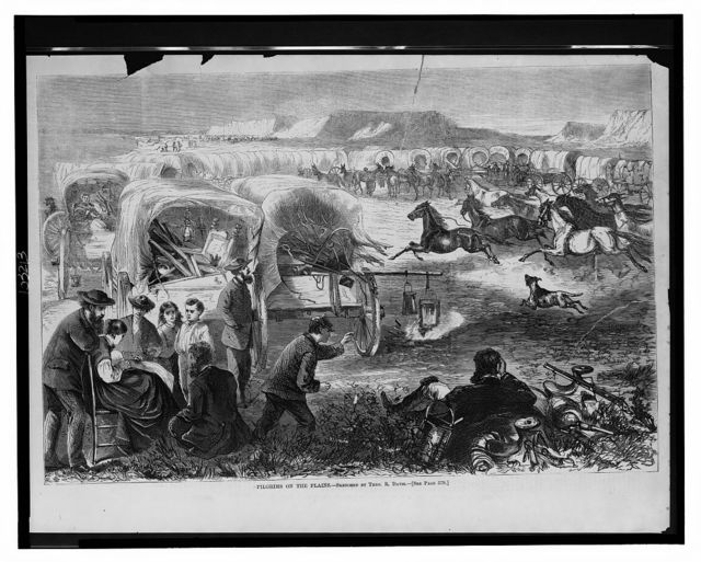 Pilgrims on the plains / sketched by Theo. R. Davis.