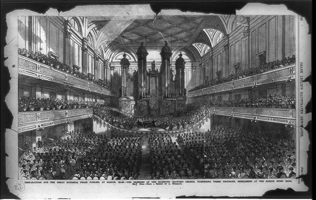 Preparation for the great national peace jubilee, at Boston, Mass. - the members of the mammoth oratorio chorus, numbering three thousand, rehearsing at the Boston Music Hall, May 19th / from a sketch by A. Berghaus.