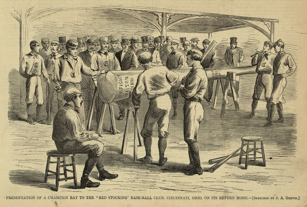 """Presentation of a champion bat to the """"Red Stocking"""" base-ball club, Cincinnati, Ohio, on its return home / sketched by J.A. Gervis."""