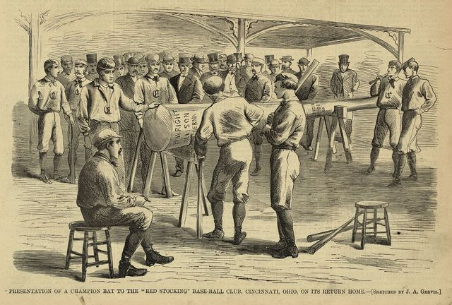 "Presentation of a champion bat to the ""Red Stocking"" base-ball club, Cincinnati, Ohio, on its return home / sketched by J.A. Gervis."
