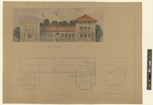 [Scroll and Key Society building, Yale University (New Haven, Connecticut). Front and 1st, 2nd, and 3rd floors. Elevation and plans]