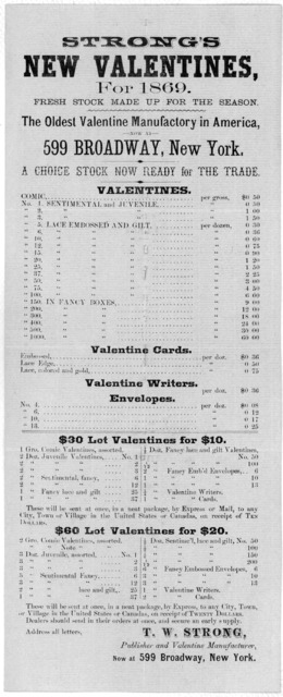 Strong's new valentines, for 1869 ... New York 1869.