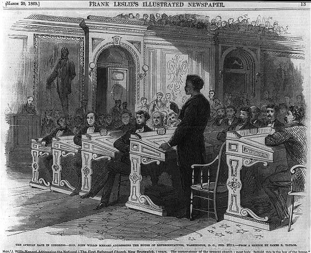 The African race in Congress - Hon. John Willis Menard addressing the House of Representatives, Washington, D.C., Feb. 27th