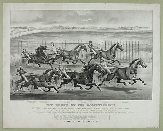 The brush on the homestretch: Between American girl, Lucy, Bashaw Jr., Goldsmith Maid, Rhode Island and George Wilkes. In the last  heat of their great trot on the prospect park fair grounds May 29th 1869