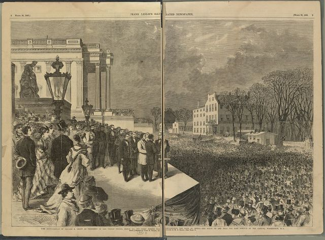 The inauguration of Ulysses S. Grant as president of the United States, March 4th, 1869 - Chief Justice Chase administering the oath of office - the scene on and near the east portico of the Capitol, Washington, D.C. / HWS [monogram].
