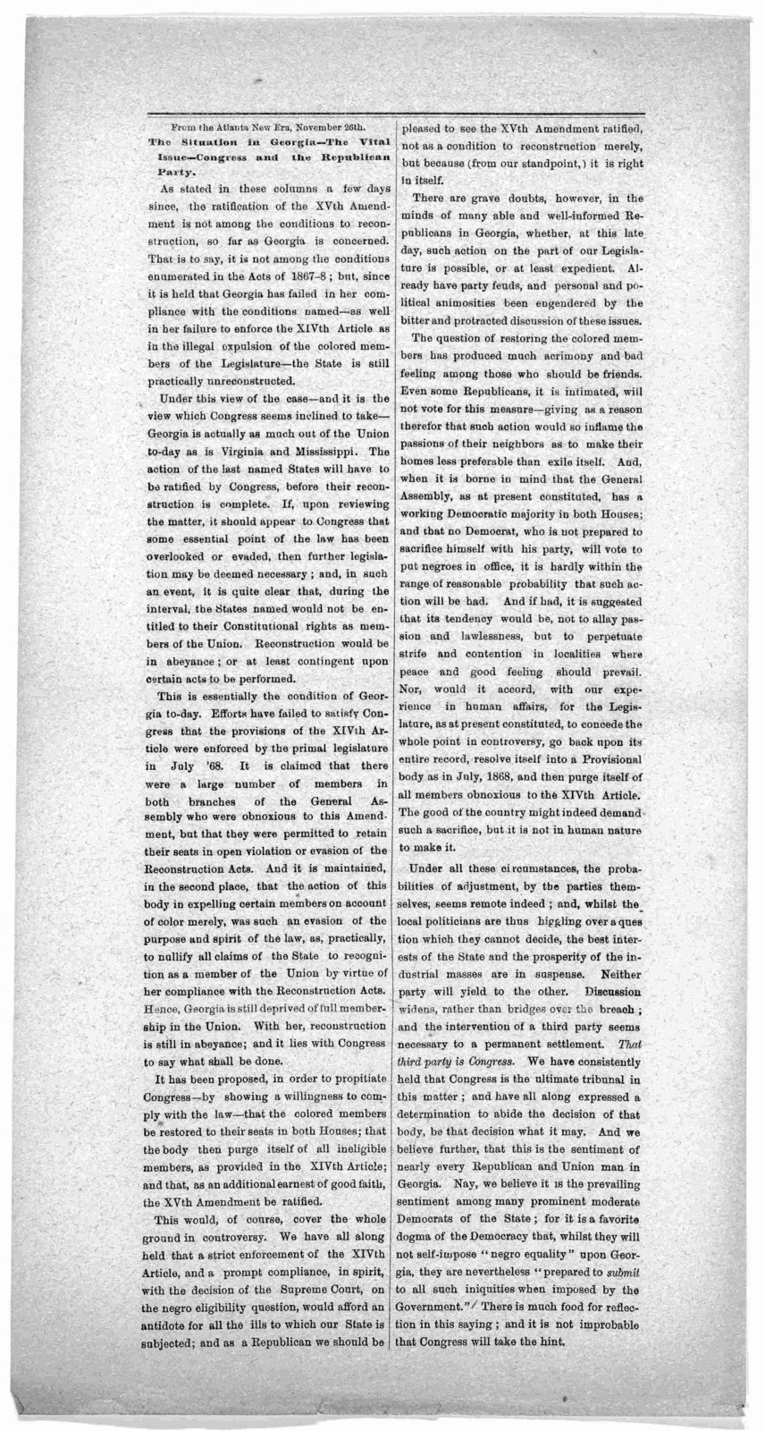 The situation in Georgia - The vital issue - Congress and the Republican party. From the Atlanta New Era. November 26th [1869?].