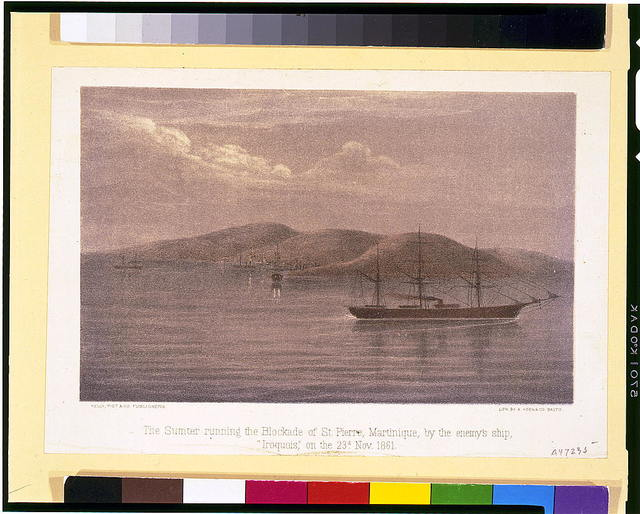 "The Sumter running the blockade of St. Pierre, Martinique, by the enemy's ship, ""Iroquois,"" on the 23d. Nov. 1861 / lith. by Hoen & Co. Balto."