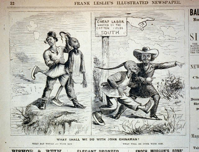 What shall we do with John Chinaman? [2 illustrations: 1. Irishman throwing a Chinese man over cliff towards China; 2. Southern plantation owner leading him to cotton fields]