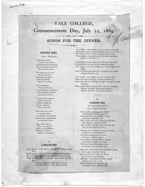 Yale College, Commencement day, July 22, 1869. Songs for the dinner. [New Haven, 1869].