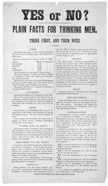 Yes or no? Plain facts for thinking men. Think first, and then vote! ... Boston. Wright & Potter, printers, 79 Milk Street, corner Federal [1869].