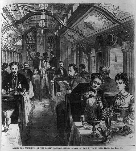 Across the continent on the Pacific Railroad - dining saloon of the hotel express train