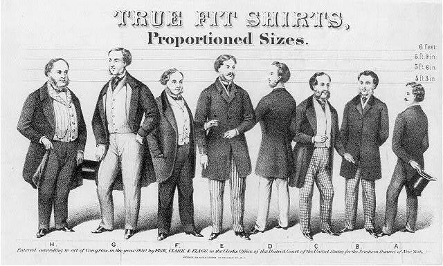 "[""Advertisement for True Fit Shirts, Proportioned sizes"", showing 8 men in fashionable dress]"