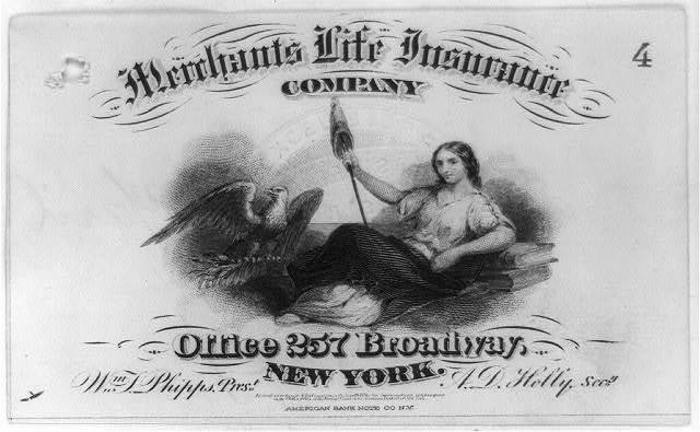 [Advertisement made for the Merchants Life Insurance Co. of New York City, possibly used as receipt] / American Bank Note Co., New-York.