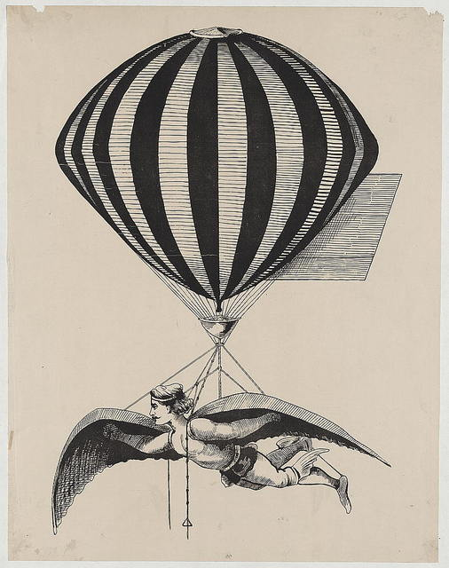 [Aerialist wearing wings strapped to his shoulders and feet while suspended from a balloon]