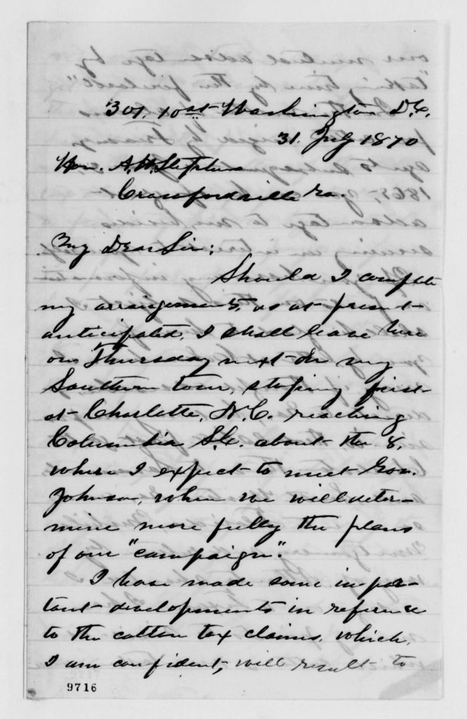 Alexander Hamilton Stephens Papers: General Correspondence, 1784-1886; 1870, July 8-Aug. 6