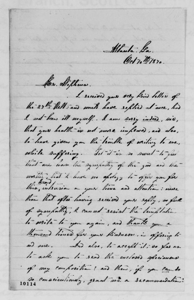 Alexander Hamilton Stephens Papers: General Correspondence, 1784-1886; 1870, Sept. 8-Oct. 14