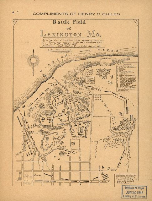 Battle field of Lexington, Mo., showing plan of earthwork defended by Federal and State troops under command of Col. James A. Mulligan, U.S.A. during the 18th, 19th and 20th Sept. 1861.  Surrendered to Genl. Sterling Price, C.S.A., Sept. 20th 1861