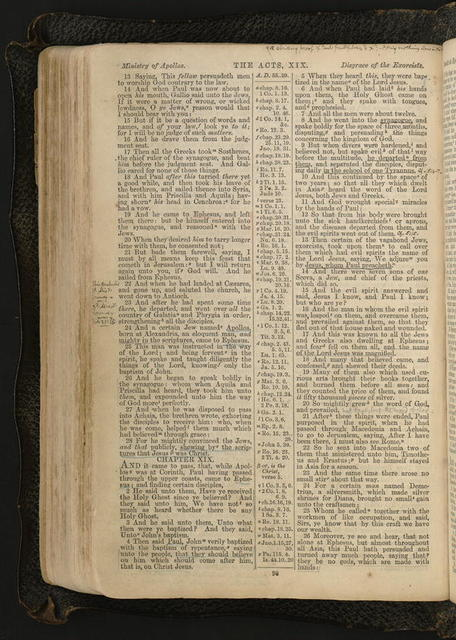 Bible of Horatio Gates Spafford (facsimile edition, English Version of Bagster's Polyglot Bible, London): selected pages and handwritten notes