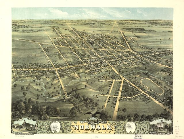 Bird's eye view of Norwalk, Huron County, Ohio 1870.