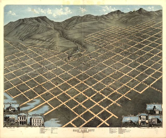 Bird's eye view of Salt Lake City, Utah Territory 1870.