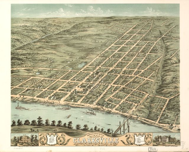 Bird's eye view of the city of Clarksville, Montgomery County, Tennessee 1870.