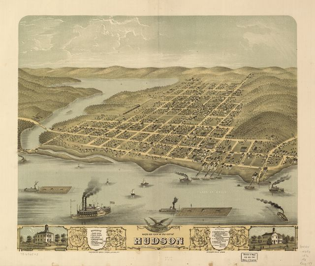 Bird's eye view of the city of Hudson, St. Croix County, Wisconsin 1870.