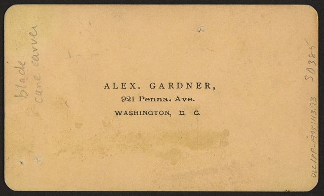 Black cane carver / Alex. Gardner, 921 Penna. Ave., Washington, D.C.