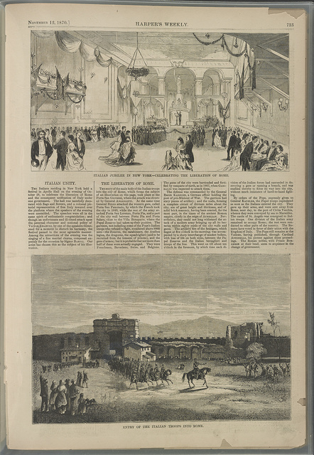 [Celebration of Italian unification in New York City and Italian troops entering Rome]