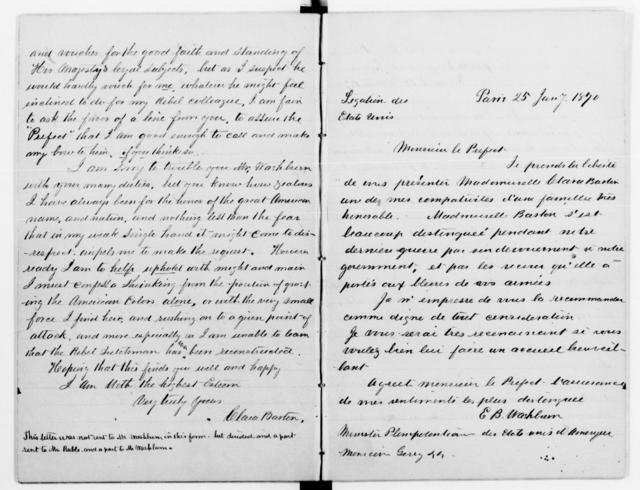 Clara Barton Papers: Diaries and Journals: 1870, Jan.-Feb. (includes copies of letters Jan.-Apr. 1870 and Mar. and Dec. 1872)