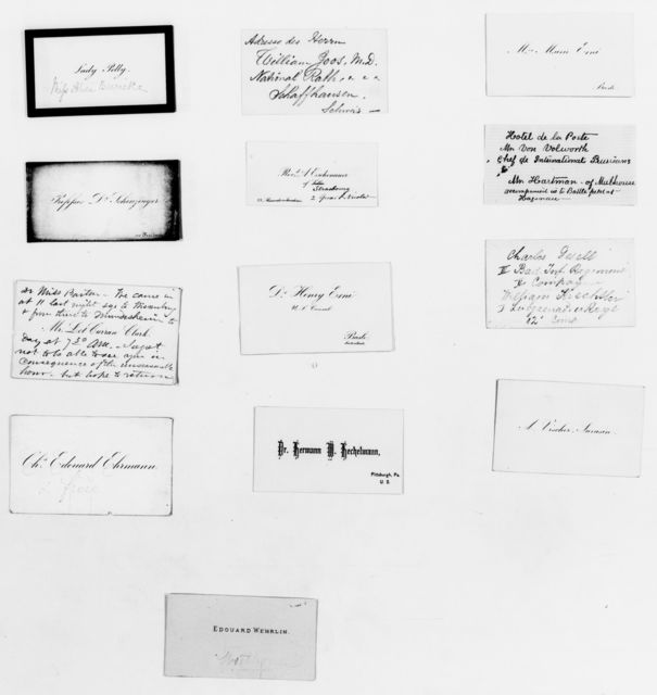 Clara Barton Papers: Subject File, 1861-1952; Franco-Prussian War; Cards and vouchers; Strasbourg, France, 1870