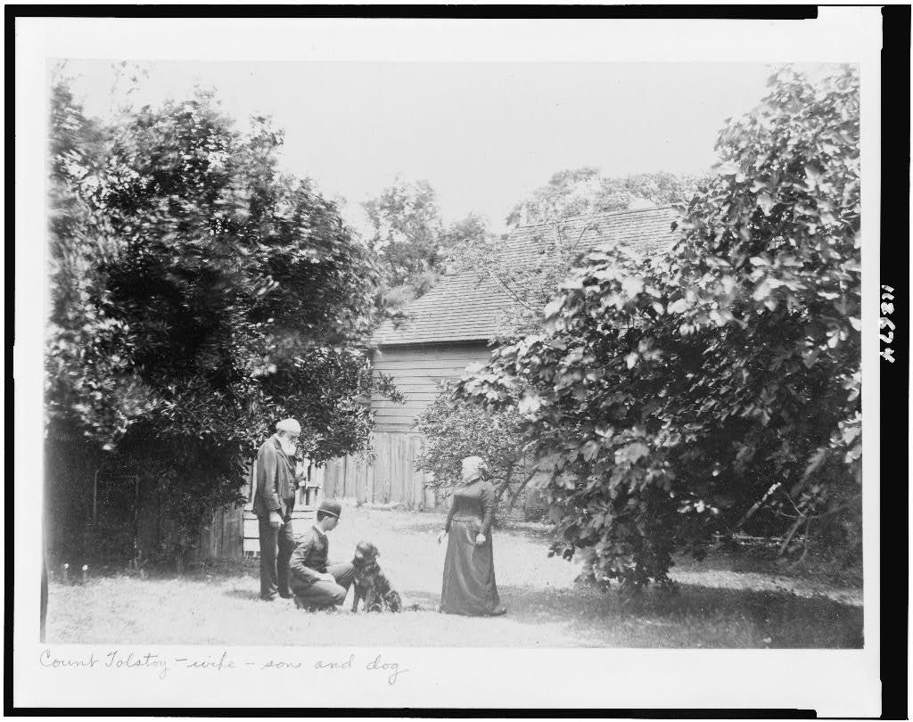 Count Tolstoy, wife, son, and dog